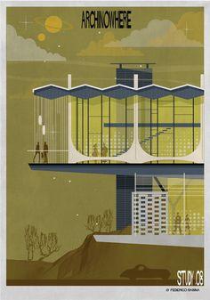 Galeria de ARCHINOWHERE: Um universo arquitetônico paralelo ilustrado por Federico Babina - 11