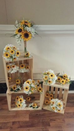 Bridal bouquet, bridesmaid bouquets, corsages and boutonnieres. By Bride & Bloom, Gladwin MIideas wedding flowers ideas sunflowers for 2019 Sunflower Birthday Parties, Sunflower Party, Sunflower Baby Showers, Wedding Bouquets, Wedding Flowers, Bridesmaid Bouquets, Sunflower Wedding Decorations, Sunflower Centerpieces, Sunflower Bouquets