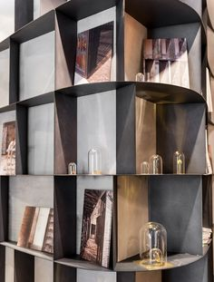 De Castelli flagship store - love how this could be used to wrap a corner with shelving while looking seamless. Storage Design, Bookcase Storage, Contemporary Interior Design, Bookshelf Design, Living Room Shelves, Interior Accents, Shelving Design, Shelving, Joinery Details