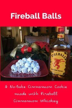 Fireball Balls - no bake cookie made with Fireball Cinnamon Whiskey… Fireball Fudge, Fireball Recipes, Fireball Whiskey, Fireball Drinks, Whiskey Recipes, Rum Recipes, Christmas Goodies, Christmas Treats, Holiday Treats