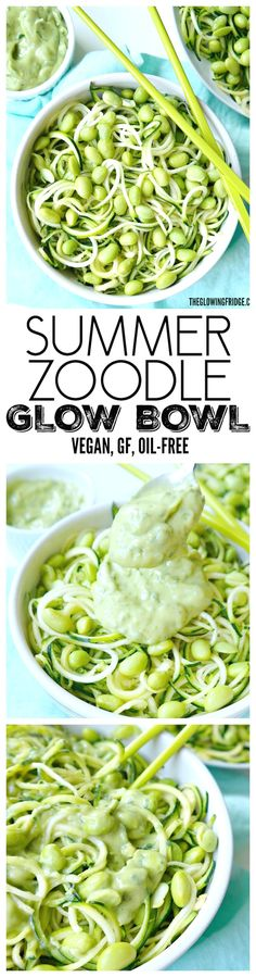 Vegan, Gluten-Free, Oil-Free, Nut-Free. Summer Zoodle Glow Bowl with edamame and creamy Avocado Lime Sauce. Healthy, fresh and light meal that's lean, clean and green! From The Glowing Fridge. #vegan #zoodles