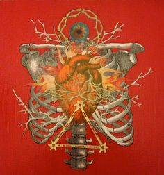 Sacred Heart Acrylic Red with Gold Elements Oddity Art