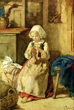 Young Girl Sewing-Jules Trayer