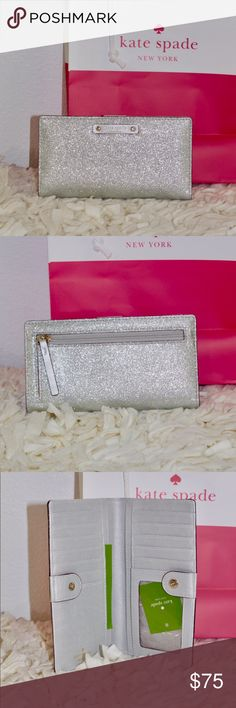 ♠️ Kate Spade Glitter Court Wallet The Sparkle to this is absolutely amazing!!! It's not a built in glitter but very small specks that don't rub off. kate spade Bags Wallets