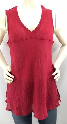 55279074a2829 CLICK Color Me Cotton Tunic Size L Red 100% Linen Sleeveless V-Neck