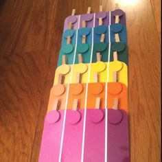 I laminated Martha Stewart paint chips from Home Depot (two of each color), used one set to punch a circle out of and then affixed them to clothespins. The result can be used for manual dexterity in occupational therapies, cognitive/matching/visual spatial activities for speech therapies (with adults or children) or teaching children colors/matching. Many uses and practically free!