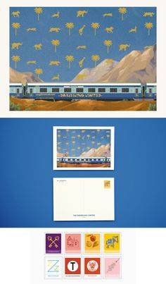 Wes Anderson Movie Postcards: The Darjeeling Limited...they even have custom stamps!