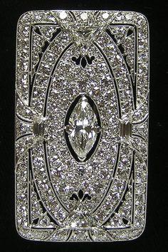 RARE Art Deco Tiffany Co Platinum Diamond Brooch