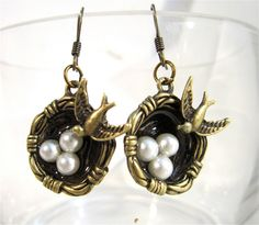 Bronze nest with pearl eggs earrings. $17.00, via Etsy.