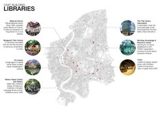 Site Analysis Pin-up Bombay Chinnapat Wattanasombat Civic Building Analysis Showing exiting civic libraries in Bangkok Urban Analysis, Site Analysis, Bangkok, Pin Up, Libraries, Drawings, Building, Maps, Arch