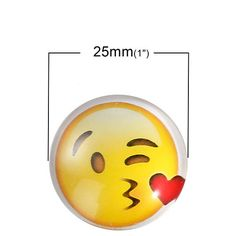 10 Heart Emoji Cabochon glass dome seal, 25mm Blowing a Kiss seal, 25mm Love Emoji Cabochons, 9921, 915a by vickysjewelrysupply. Explore more products on http://vickysjewelrysupply.etsy.com