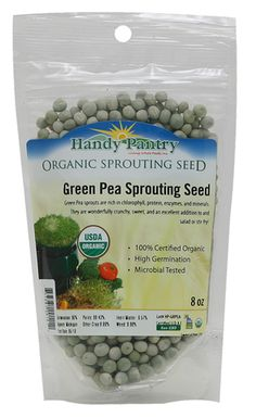 Dried Organic Green Pea seeds to make green pea sprouts are Perfect for sprouting, gardening, soup, food storage & more. The Green Pea Sprout has a high Germination rate. Green Peas sprout well using the jar method, tray method or by using the Sprout Sack!! Green pea sprouts have a delicious crunchy mildly sweet flavor.