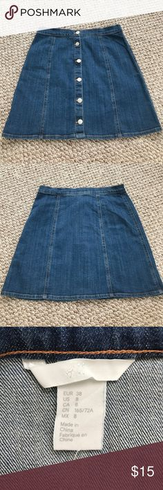 NWOT H&M high waisted denim skirt NWOT, tried on a few times but never worn. Super cute and material is stretchy! All of the buttons are real buttons. H&M Skirts