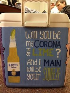 beer alcohol corona and lime shwayze fraternity cooler Fraternity Coolers, Frat Coolers, Fraternity Formal, Sorority Life, Sorority Canvas, Sorority Paddles, Sorority Recruitment, Sorority Formal, Cute Crafts