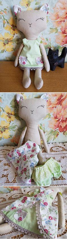Handmade Cat doll. Stuffed cat toy. Textile toy cat rag doll. #handmadecattoys