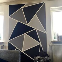 Wall Painting Decor, Tape Painting, Diy Wall Art, House Painting, Geometric Wall Paint, Geometric Decor, Bedroom Wall Designs, Accent Wall Bedroom, Wall Paint Patterns