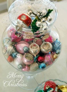 christmas - maybe this is the kind of thing I will do to display my vintage ornament collection until I can gather enough to start making some cool decorating items and having enough to decorate a whole tree with.