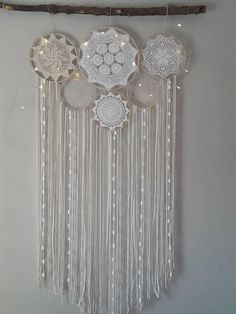 dream catcher with high quality Egyptian cotton yarn in white and cream with wool and cotton ribbons, lace, wooden hoops t.