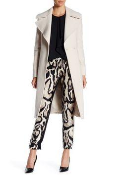 Wool Blend Notch Lapel Belted Coat