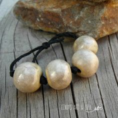Bead Set Oatmeal Marble Ceramic Beads Handmade