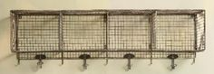 very cool vintage style wire basket cubbies with hooks