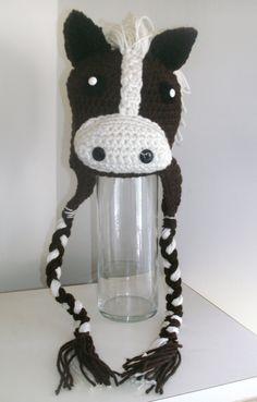 Crochet Horse Pony Beanie Earflap Hat. $25.00, via Etsy.