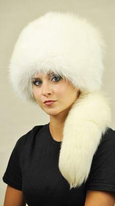 Cappello volpe bianca naturale con coda  www.amifur.it
