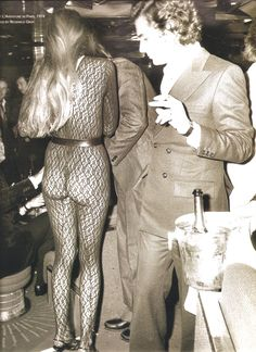 Jerry Hall in see-through lace bodysuit, Studio 54, 1974