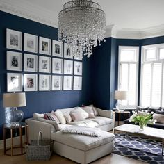 Savvy and Inspiring living room lounge hoboken you'll love Blue And Cream Living Room, Navy Living Rooms, Blue Living Room Decor, Living Room Lounge, Living Room Paint, Living Room Grey, Formal Living Rooms, Home Living Room, Blue Feature Wall Living Room