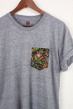 This would be so easy to do! Add a little pocket to a plain tee!