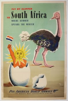 Fly Clipper to South Africa, 1953 - original vintage poster by Jean Carlu & Dubois listed on AntikBar.co.uk