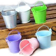 Opentip.com: Idoo Assorted Pastel Colored Tin Pails Favor Boxes With White Organza Bags