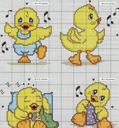 pollos Baby Cross Stitch Patterns, Cross Patterns, Cross Stitch Bird, Cross Stitch Animals, Cross Stitch For Kids, Baby Patterns, Cross Stitching, Cross Stitch Embroidery, Baby Ducks