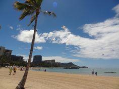 Waikiki Beach, Oahu, Hawaii with Diamond Head in the distance.