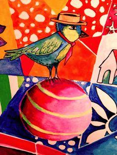 ART GIRL: Bird on a ball. Watercolor, gouache, Golden Fluid Acrylics painting