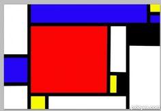 Klassieke Piet Mondriaan.  Piet Mondriaan gebruikt alleen de primaire kleuren en zwart en wit.