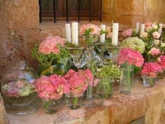 Single flower type arrangements - but in orange and white
