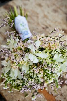 Lovely wildflower bouquet of limonium, stock, waxflower, alstroemeria, astilbe, veronica, and monte casino aster. (Substitute or remove veronica & astilbe for a more affordable bouquet.)