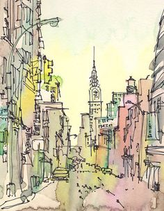 New York Sketch, Chrysler Building, New York City - print from an original watercolor sketch This sketch captures Chrysler Building on a hazy -- by Suhita Shirodkar Chrysler Building, Flatiron Building, Watercolor Sketch, Watercolor Paintings, Painting Art, Urban Painting, Watercolor Journal, Watercolor Pencils, Art Paintings