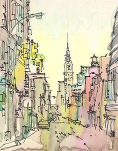 New York Sketch, Chrysler Building, New York City - afdrukken vanuit een originele aquarel schets  Deze sketch vangt Chrysler Building op een wazige