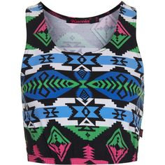 TOPSHOP **Sporty Aztec Crop Top by Kuccia ($29) ❤ liked on Polyvore featuring tops, shirts, crop tops, tank tops, blue, aztec crop top, blue top, topshop tops, scoop neck crop top and polyester shirt