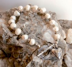 Freshwater Pearls Bracelet - Heart Love Charm by ReTainReUse on Etsy