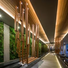 HYDE Condominium Landscape Design by Shma – Wison Tungthunya & W Workspace Lobby Interior, Interior Exterior, Exterior Design, Church Interior, Cove Lighting, Lighting Design, Art Mur, Lobby Design, Space Architecture