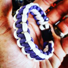 Royal Purple and White Solomon Bar or Cobra #Paracord #Survival #Bracelet by UltimateAdventureCo on Etsy