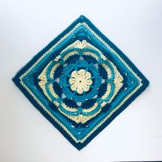 """Have you ever met someone whose kind gesture changed the trajectory of your craft? I have, and this square is for Margaret. afghan square for blankets; 39 stitches per side; 11' x 11"""" - 4.5 mm hook; 12"""" x 12"""" - 5 mm hook; uses sc, hdc, FPhdc, BPhdc, dc, FPdc, BPdc, BLdc, tr, BPtr, dtr and puff stitches; This pattern introduces a new feature allowing users to link back and forth from a word/stitch and corresponding picture. No more scrolling to check a definition or rnd-by-rnd pictures for detai Meeting Someone, Serendipity, Creative Design, Blankets, Stitches, Vibrant, Canvas, Crochet, Link"""