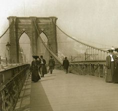 My maternal Grandma Sarah's family come from a long line of Brooklynites. (This line carries English, Dutch, Blackfoot and German.) Old NY: Brooklyn Bridge in the early New York Photos, Old Photos, Vintage Photographs, Vintage Images, New York Street, New York City, Old City, Brooklyn Bridge, Rue