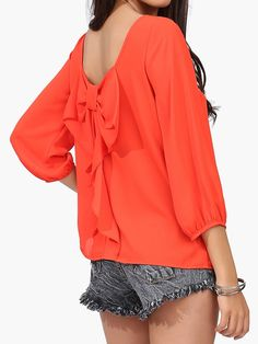 Orange Backless Chiffon Blouse With Back Bow | Choies
