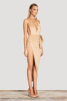Women V-neck backless Wrap Slim Stretch Dress