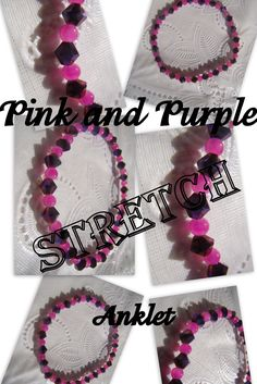 This beautiful pink and purple stretch anklet is a must for your collection.  It measures 7 3/4 inches around.  I have 2 available in my shop.  Enjoy!