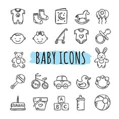 Hand drawn kids symbols: toys, food, clothes The Effective Pictures We Offer You About Baby Clothing swag A quality picture can tell you many things. Clipart Baby, Pregnancy Journal, Baby Journal, Pregnancy Scrapbook, Toys Drawing, Doodle Baby, Scrapbook Bebe, Baby Icon, Baby Illustration